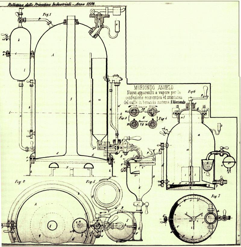 Patent by Angelo for first espresso machine